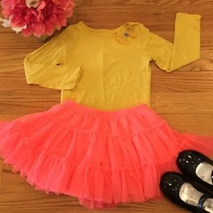 Carter's 2T yellow Shirt & Pink Tutu Set